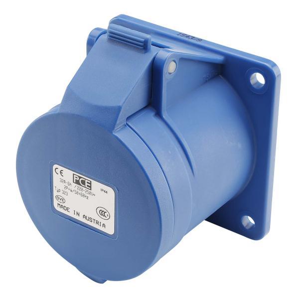 Basic CEE, 3-pol , Kunststoff-Einbaubuchse, gerade, blau
