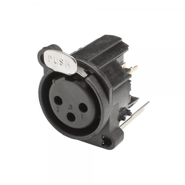 HICON XLR, 3-pol , Kunststoff-, Printtechnik vertikal-Einbaubuchse, Type A, schwarz