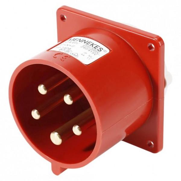 Mennekes CEE, 5-pol , Kunststoff-, Schraubkontakt-Einbaustecker, vernickelte(r) Kontakt(e), gerade,