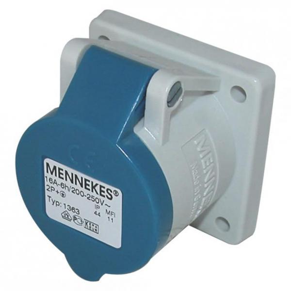 Mennekes CEE, 3-pol , Kunststoff-, Schraubkontakt-Einbaubuchse, vernickelte(r) Kontakt(e), gerade, m